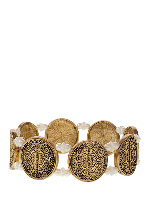Erica Lyons Gold Tone Casted Coin Stretch Bracelet