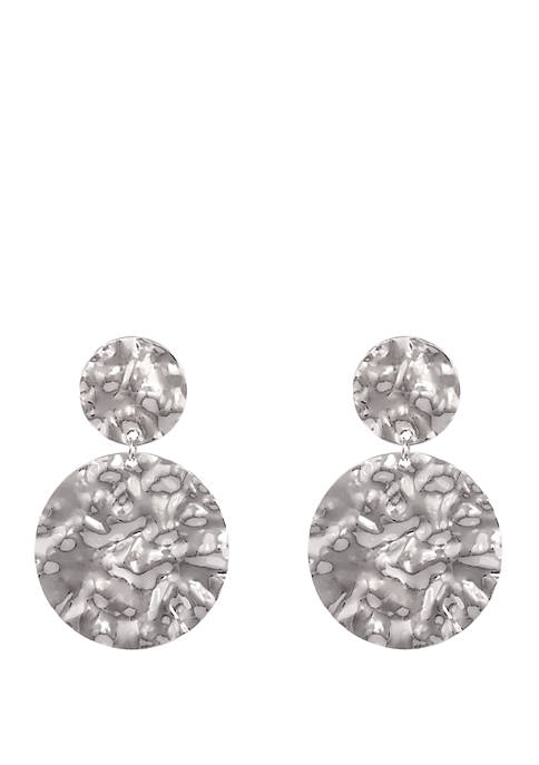 Silver Tone Hammered Disc Drop Earrings