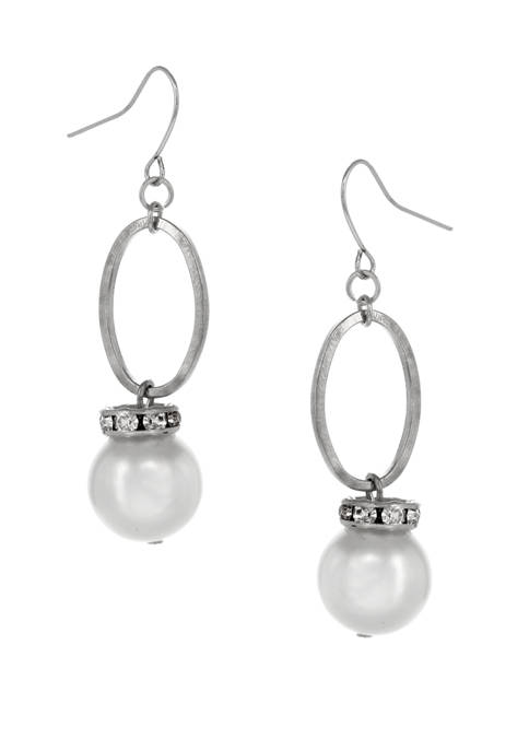 Erica Lyons Silver Tone Oval Pearl Drop Earrings