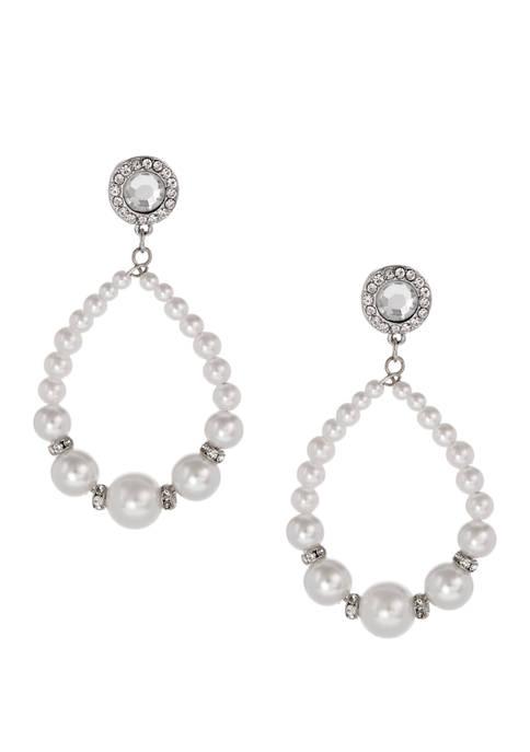 Silver Tone Pearl Teardrop Earrings