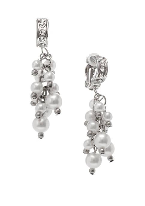 Silver Tone Linear Pearl Cluster Clip Earrings