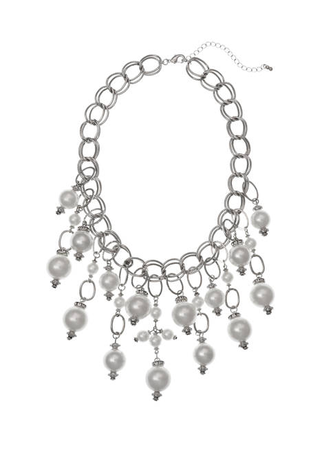 Erica Lyons Silver Tone Pearl Statement Necklace