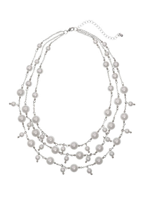 Silver Tone 3 Row Pearl Necklace