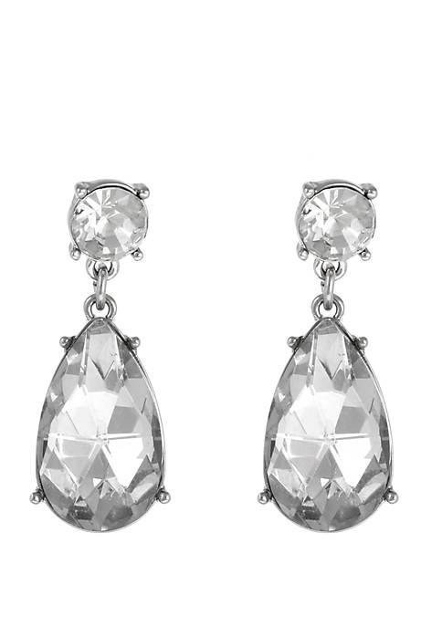 Silver Tone Crystal Teardrop Earrings