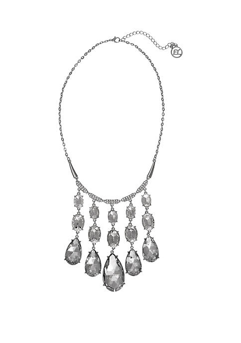 Erica Lyons Silver Tone Statement Necklace with Teardrop
