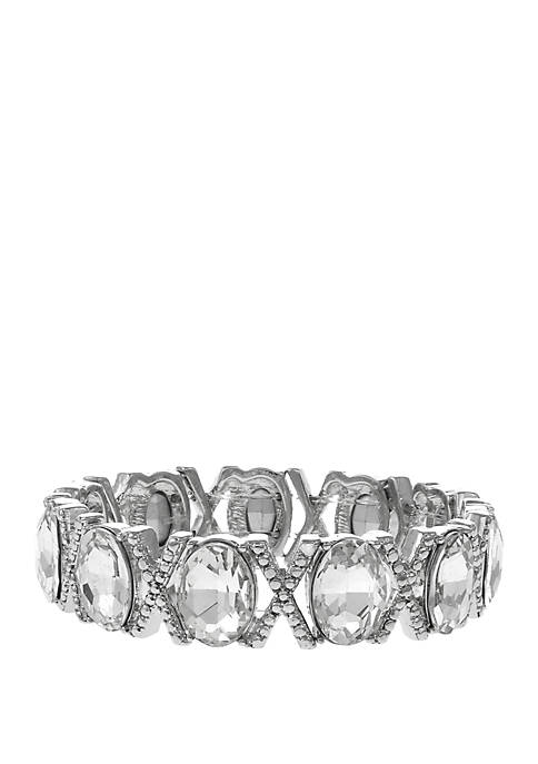 Erica Lyons Silver Tone Stretch Bracelet with Oval