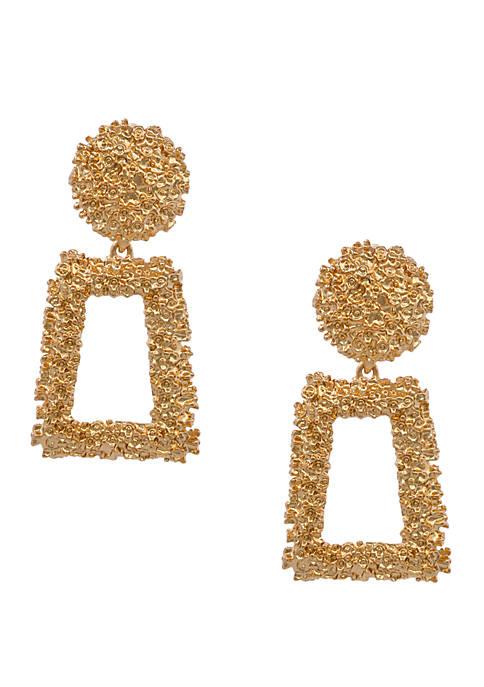 Erica Lyons Gold Tone Textured DoorKnocker Clip Earrings