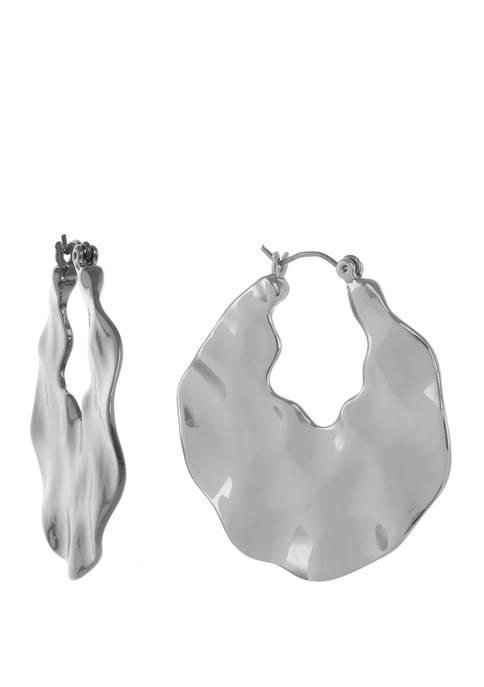 Silver Tone Wavy Textured Hoop Earrings