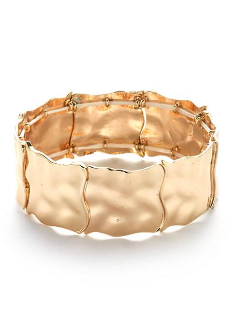 Gold Tone Textured Casting Stretch Bracelet