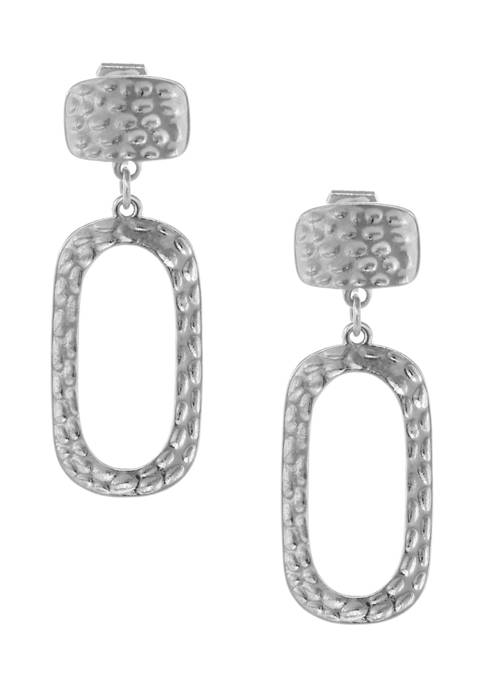 Erica Lyons Silver Tone Square Drop Earrings