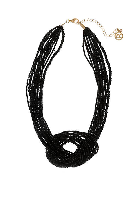 Erica Lyons Black Seed Bead Knot Short Necklace