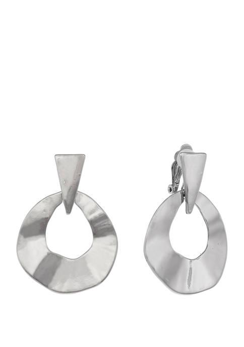 Silver Tone Wavy Gypsy Clip Earrings