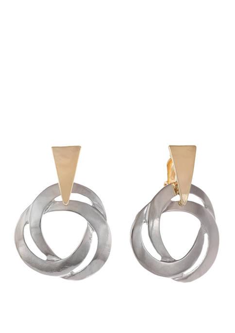 Two Tone Doorknocker Clip Earrings