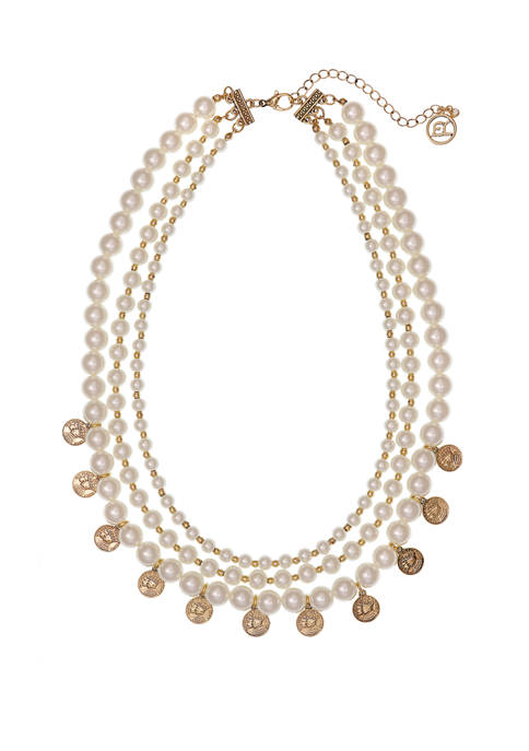 Erica Lyons Gold Tone 3 Row Pearl Necklace