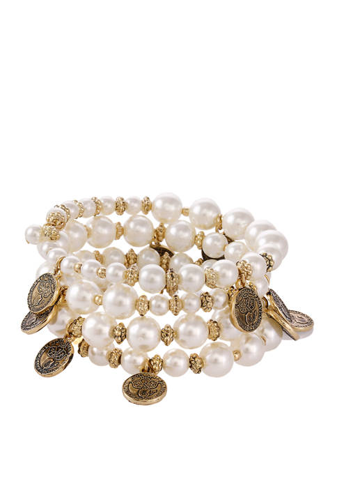 Gold Tone Coil Bracelet with White Acrylic Pearls and Coin Drop Accents
