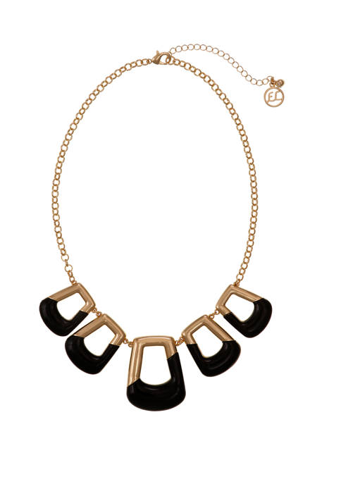 Erica Lyons Gold Tone and Black Square Collar