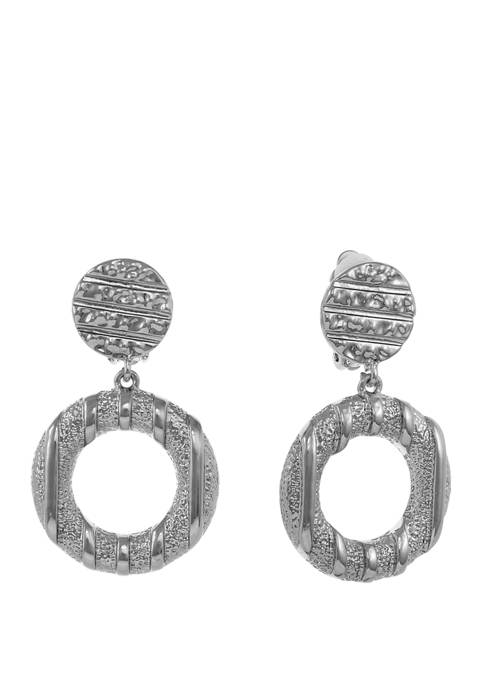 Silver Tone Textured Ring Drop Clip Earrings