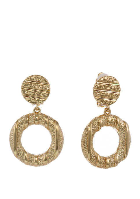 Gold Tone Textured Ring Drop Clip Earrings