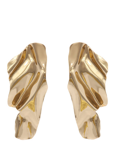 Erica Lyons Gold Tone Linear Textured Clip Earrings