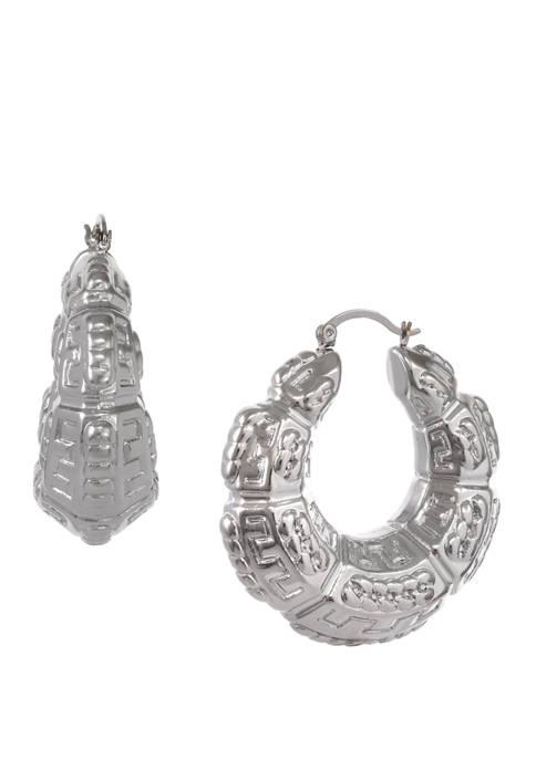 Erica Lyons Silver Tone Textured Hoop Earrings