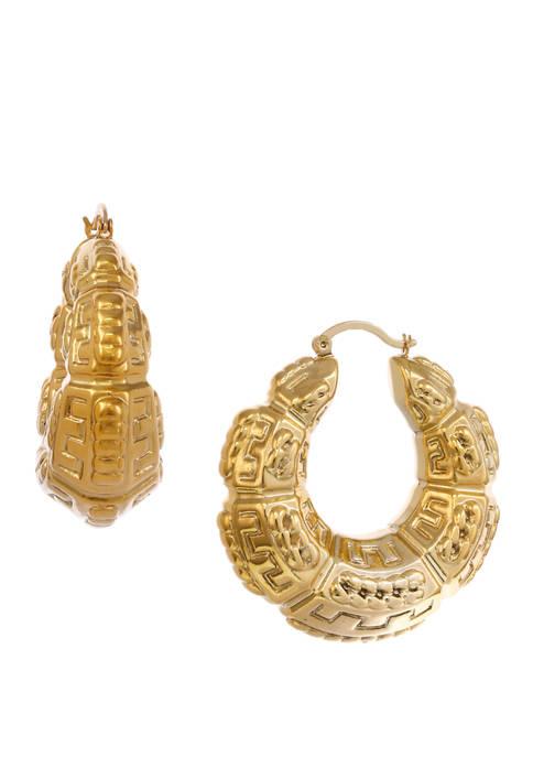 Gold Tone Textured Hoop Earrings
