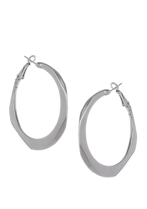 Erica Lyons Silver Tone Thick Clutchless Hoop Earrings