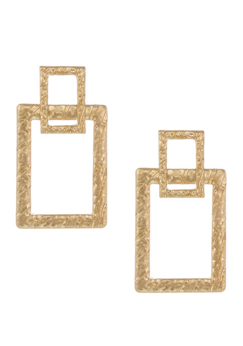 Gold Tone Textured Square Doorknocker Earrings