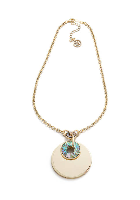 Erica Lyons Gold Tone Round Pendant Necklace with