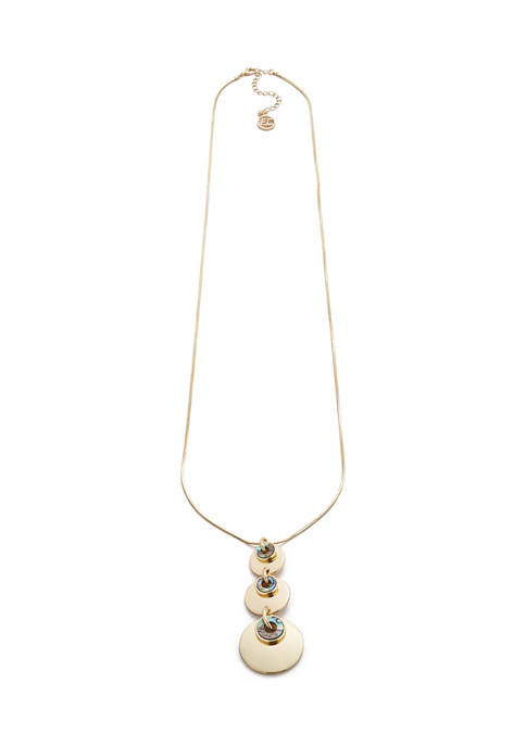 Erica Lyons Gold Tone 3 Disc Long Pendant