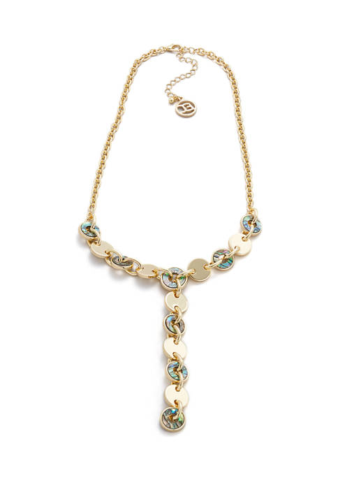 Erica Lyons Gold Tone Y Necklace with Abalone