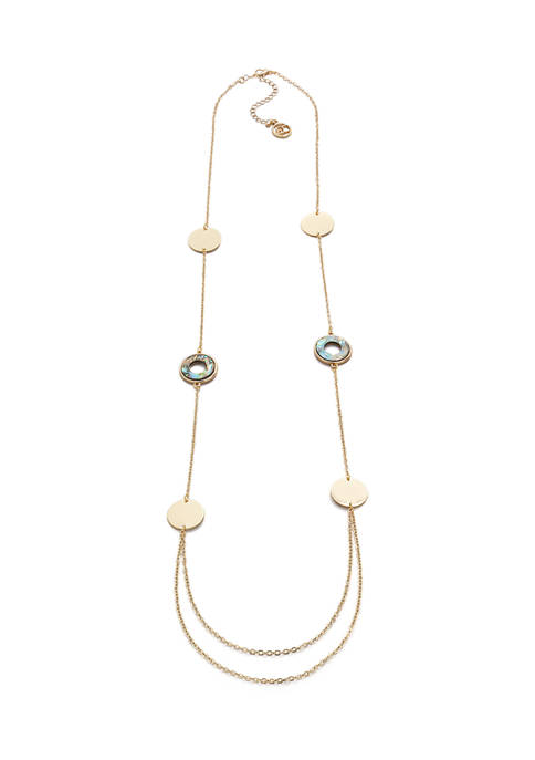 Erica Lyons Gold Tone Long Station Necklace with
