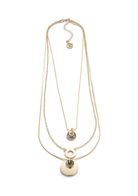 Erica Lyons Gold Tone 3 Row Layered Necklace