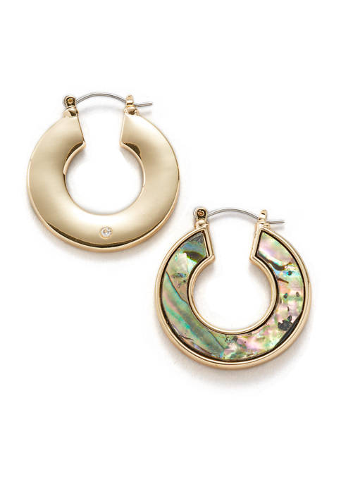Erica Lyons Gold Tone Hoop Earrings with Abalone