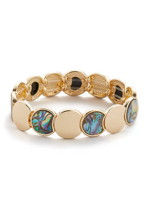 Erica Lyons Gold Tone Stretch Bracelet with Abalone