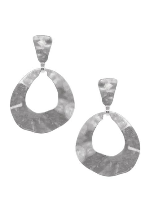 Silver Tone Teardrop Clip Earrings