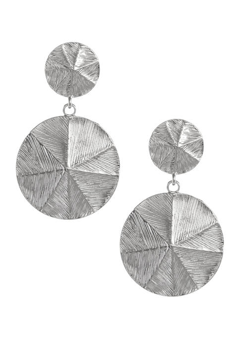 Silver Tone Textured Drop Clip Earrings