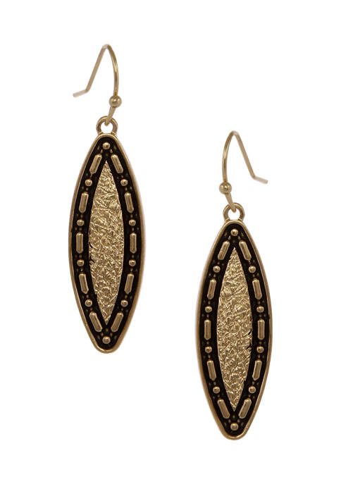 Erica Lyons Gold Tone Textured Navette Drop Pierced