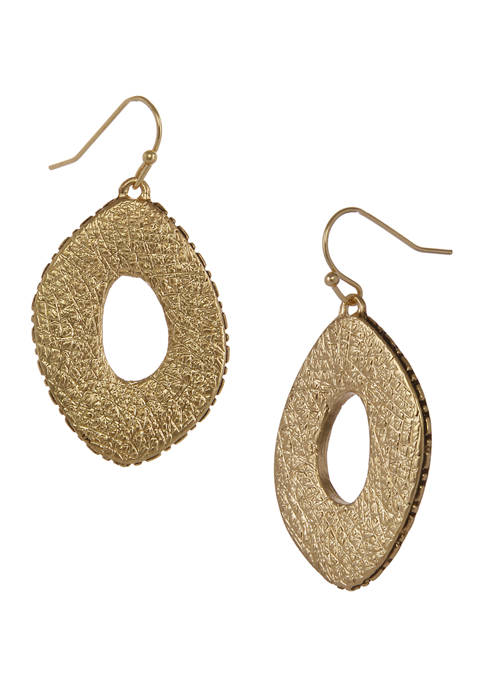 Erica Lyons Gold Tone Textured Oval Drop Pierced