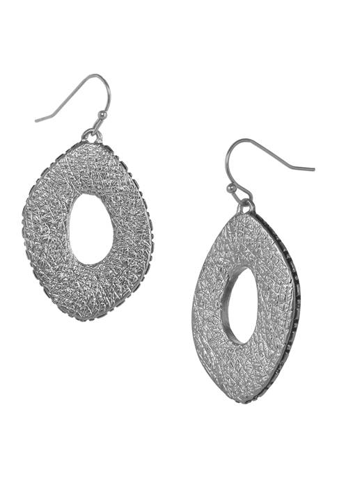 Erica Lyons Silver Tone Textured Oval Drop Pierced