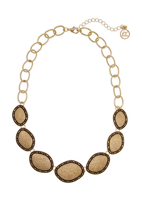 Gold Tone Textured Oval Casting Collar Necklace