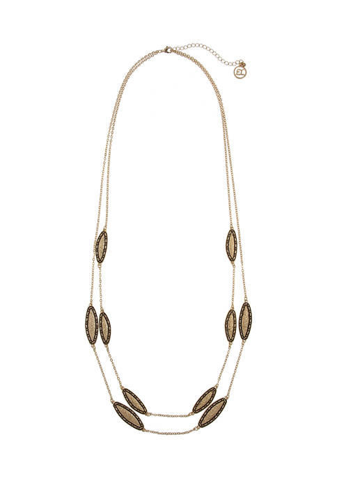 Erica Lyons Gold Tone 2 Row Long Necklace