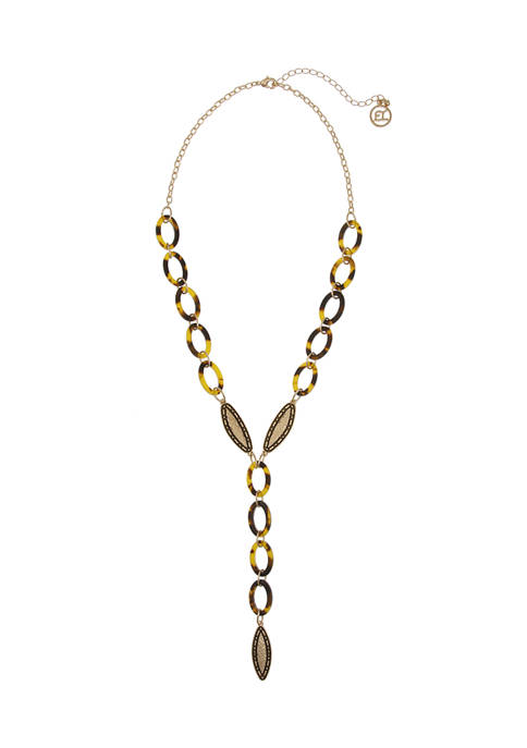 Erica Lyons Gold Tone Y Necklace with Textured
