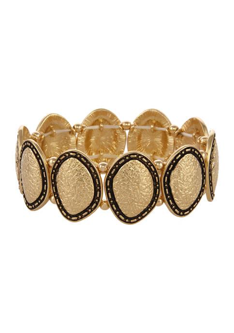 Erica Lyons Gold Tone Oval Texture Stretch Bracelet