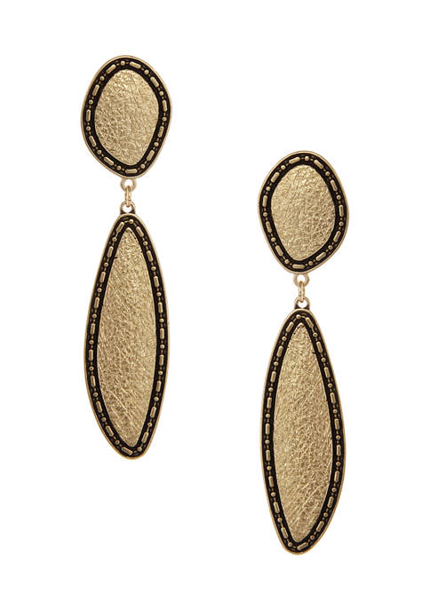 Erica Lyons Gold Tone Textured Linear Clip Earrings
