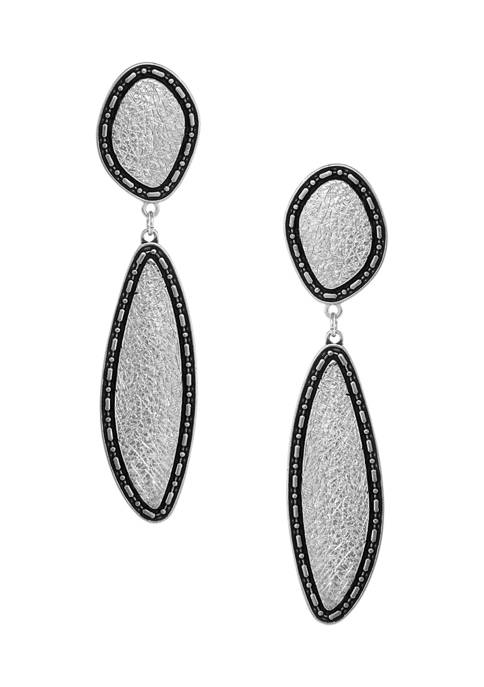 Erica Lyons Silver Tone Textured Linear Clip Earrings