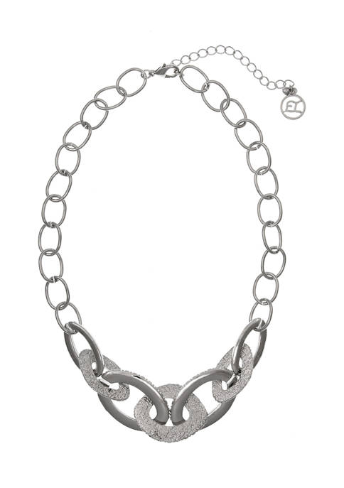 Silver Tone Textured Link Collar Necklace