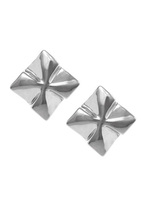 Silver Tone Button Clip Earrings