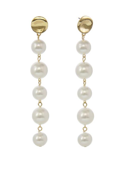 Gold Tone Linear Pearl Earrings