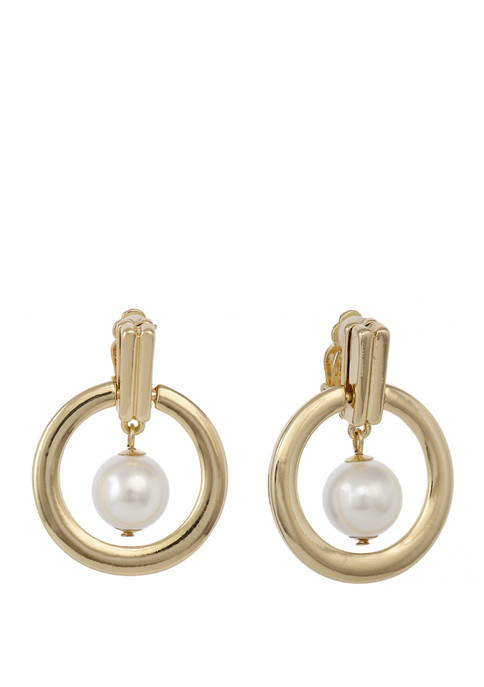 Gold Tone Ring Clip Earrings with Center Pearl Drop