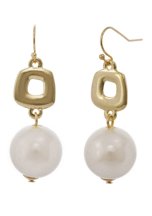 Erica Lyons Gold Tone Square Casting Drop Earrings